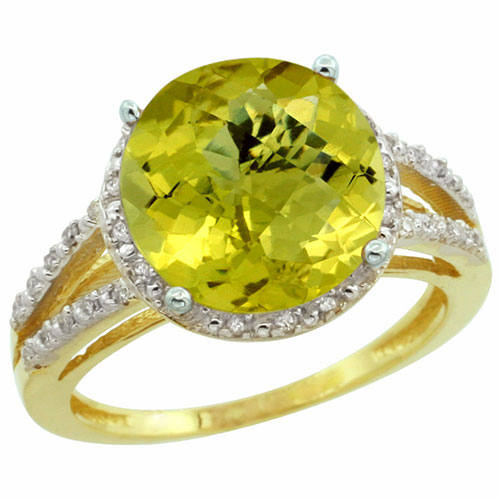 10K Yellow Gold Diamond Natural Lemon Quartz Ring Round 11mm, sizes 5-10 #16302v3