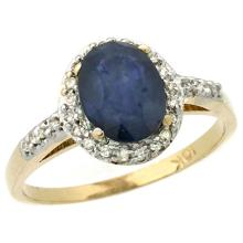 14K Yellow Gold Natural Diamond Blue Sapphire Ring Oval 8x6mm, sizes 5-10 #15536v3