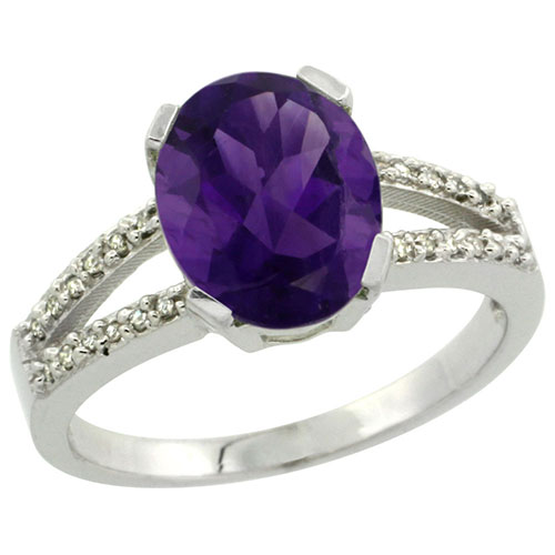 10K White Gold Diamond Halo Natural Amethyst Ring Oval 10x8mm, sizes 5-10 #15543v3
