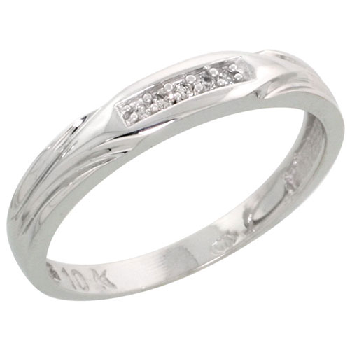 10k White Gold Ladies Diamond Wedding Band Ring 0.03 cttw Brilliant Cut, 1/8 inch 3.5mm wide #16283v3