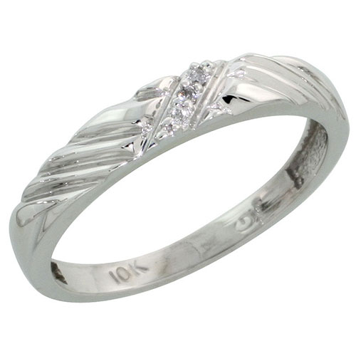 10k White Gold Ladies Diamond Wedding Band Ring 0.02 cttw Brilliant Cut, 1/8 inch 3.5mm wide #16287v3