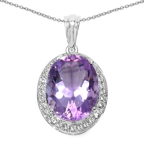 Amethyst:Oval/16x12mm 1/8.35 ctw + Topaz White:Round/1.00mm 32/0.16 ctw #29748v3