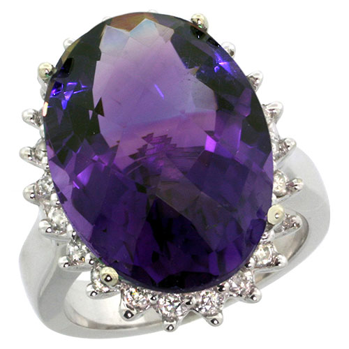 10k White Gold Natural Amethyst Ring Large Oval 18x13mm Diamond Halo, sizes 5-10 #15568v3