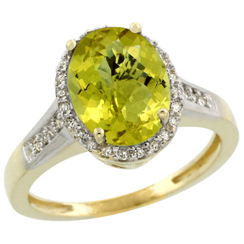 10K Yellow Gold Diamond Natural Lemon Quartz Ring Oval 10x8mm, sizes 5-10 #16301v3
