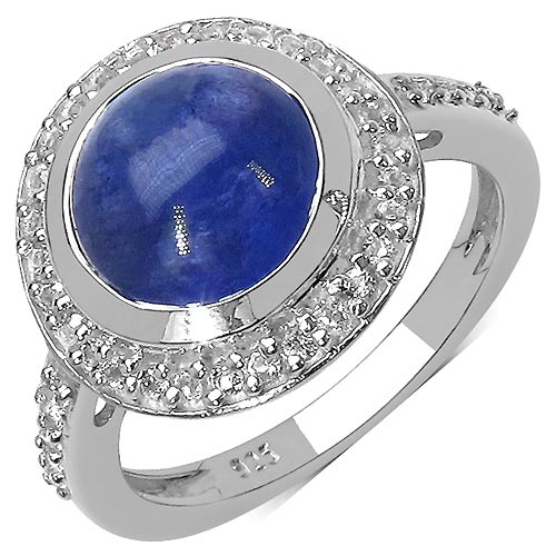 Tanzanite:Round/10.00mm 1 /4.00 ctw + Topaz White:Round/1.20mm 40 /0.40 ctw #29535v3