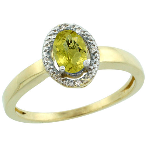 10K Yellow Gold Diamond Halo Natural Lemon Quartz Ring Oval 9x7mm, sizes 5-10 #16297v3