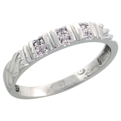 10k White Gold Ladies Diamond Wedding Band Ring 0.03 cttw Brilliant Cut, 1/8 inch 3.5mm wide #16286v3