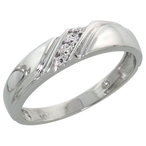 10k White Gold Ladies Diamond Wedding Band Ring 0.02 cttw Brilliant Cut, 3/16 inch 4.5mm wide #16279v3