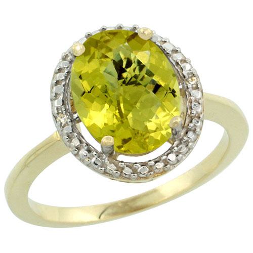 10K Yellow Gold Diamond Natural Lemon Quartz Ring Oval 10x8mm, sizes 5-10 #16303v3