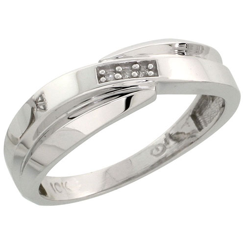 10k White Gold Ladies Diamond Wedding Band Ring 0.02 cttw Brilliant Cut, 1/4 inch 6mm wide #16293v3