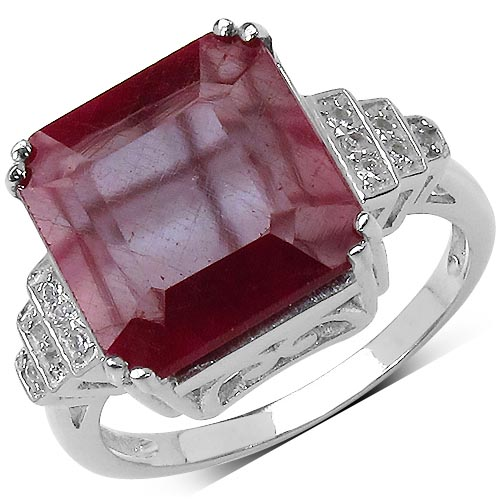 Ruby:Octagon/12.00mm 1 /9.70 ctw + Topaz White:Round/1.10mm 12 /0.12 ctw #29584v3
