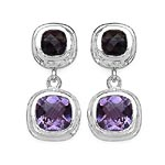 Amethyst:Cushion/8.00mm 2/4.60 ctw + Topaz Smoky:Cushion/6.00mm 2/2.10 ctw #28044v3