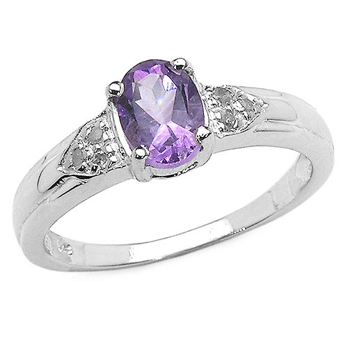 Amethyst:Oval/7x5mm 1/0.80 ctw + Diamond White:Round/1.10mm 6/0.04 ctw #29632v3
