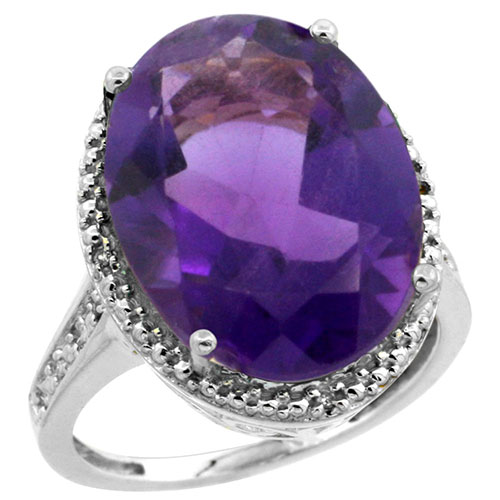 10K White Gold Diamond Natural Amethyst Ring Oval 18x13mm, sizes 5-10 #15544v3