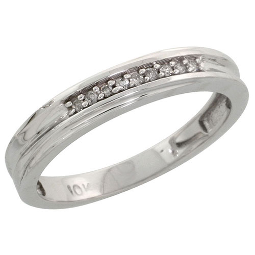 10k White Gold Ladies Diamond Wedding Band Ring 0.03 cttw Brilliant Cut, 1/8 inch 3.5mm wide #16289v3