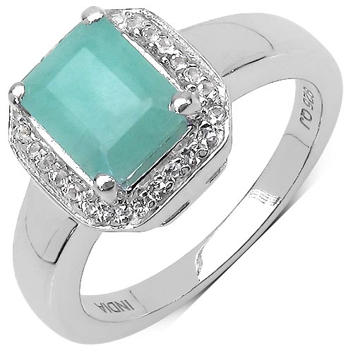 Emerald:Octagon/8x6mm 1/1.60 ctw + Topaz White:Round/1.00mm 26/0.13 ctw #29595v3