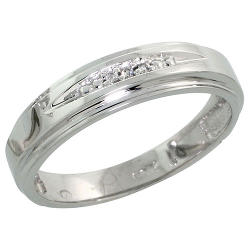 10k White Gold Ladies Diamond Wedding Band Ring 0.02 cttw Brilliant Cut, 3/16 inch 5mm wide #16282v3