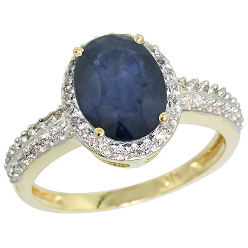14K Yellow Gold Natural Diamond Blue Sapphire Ring Oval 9x7mm, sizes 5-10 #15537v3