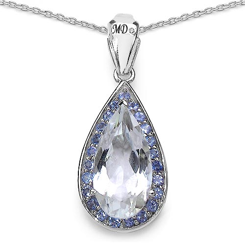Quartz Crystal:Pears/18x9mm 1/5.22 ctw + Tanzanite:Round/1.90mm 23/0.81 ctw + Diamond White:Round/0.90mm 1/0.01 ctw #29488v3