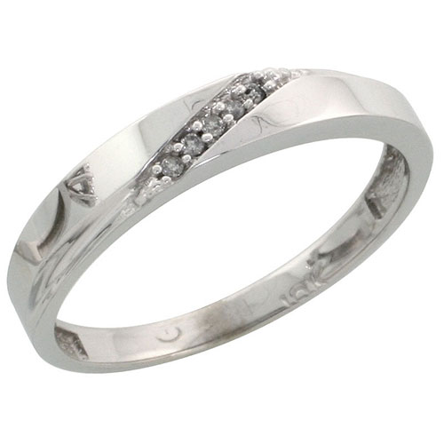 10k White Gold Ladies Diamond Wedding Band Ring 0.03 cttw Brilliant Cut, 1/8 inch 3.5mm wide #16284v3
