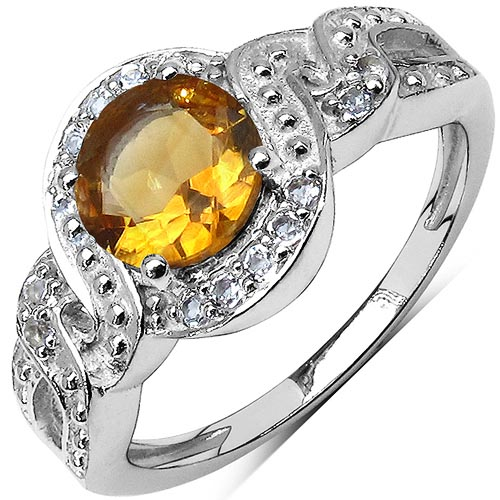 Citrine:Round/8.00mm 1/2.25 ctw + Topaz White:Round/1.30mm 75/0.75 ctw #29617v3