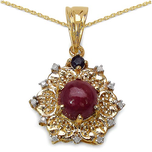 Ruby:Round/7.00mm 1 /2.51 ctw + Sapphire:Round/2.50mm 1 /0.09 ctw + Diamond White:Round/1.00mm 11 /0.06 ctw #29771v3