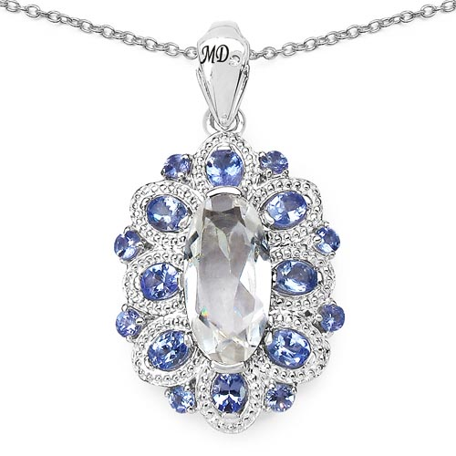 Quartz Crystal:Oval/16x8mm 1/4.17 ctw + Tanzanite:Oval/4x3mm 8/1.36 ctw + Tanzanite:Round/2.50mm 8/0.56 ctw + Diamond White:Round/0.90mm 1/0.01 ctw #29661v3