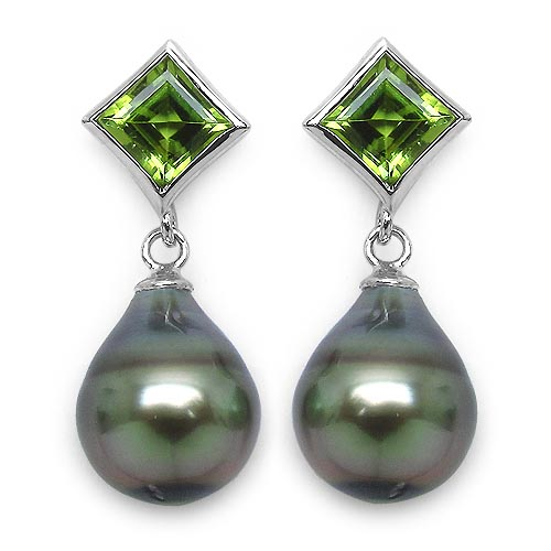 Pearl:Drop/12X9mm 2 + Peridot:Square/6mm 2/2.00 ctw #29958v3