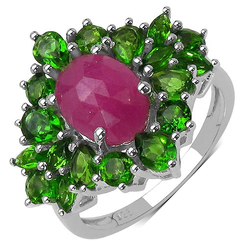Sapphire:Oval/9x7mm 1 /1.00 ctw + Chrome Diopside:Round/3.00mm 6 /0.78 ctw #29550v3