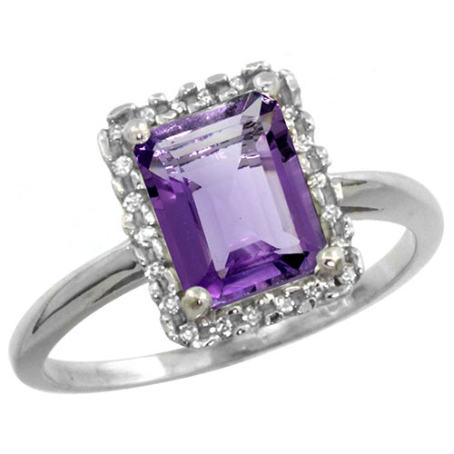 10K White Gold Natural Diamond Amethyst Ring Emerald-cut 8x6mm, sizes 5-10 #15559v3
