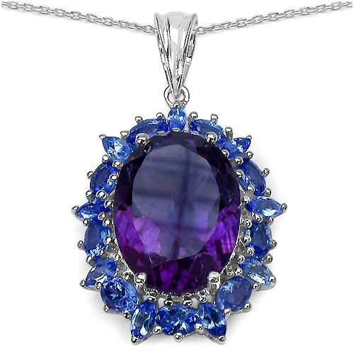 Amethyst:Oval/16x12mm 1 /8.35 ctw + Tanzanite:Oval/4x3mm 9 /1.53 ctw + Tanzanite:Marquise/4x2mm 9 /0.63 ctw #29444v3