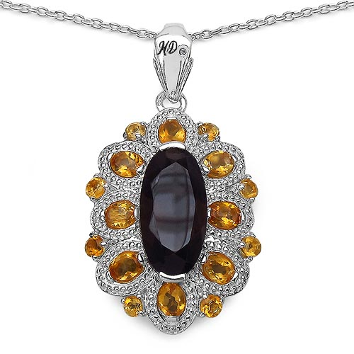 Topaz Smoky:Oval/16x8mm 1/4.55 ctw + Citrine:Oval/4x3mm 8/1.28 ctw + Citrine:Round/2.50mm 8/0.56 ctw + Diamond White:Round/0.90mm 1/0.01 ctw #29662v3