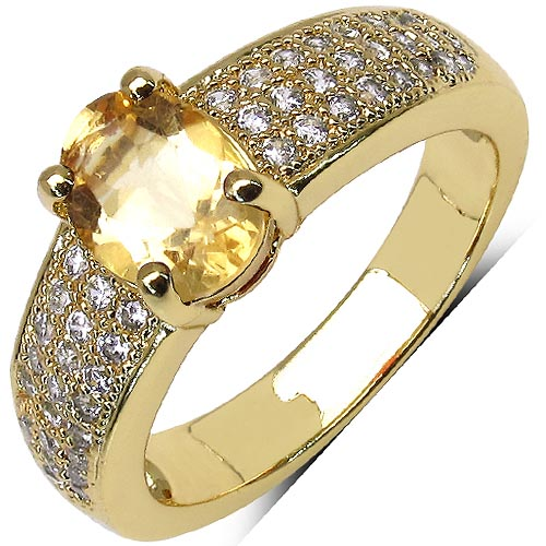Citrine:Oval/8x6mm 1/1.00 ctw + Cubic Zircon White:Round/1.00mm 48/0.45 ctw #29614v3