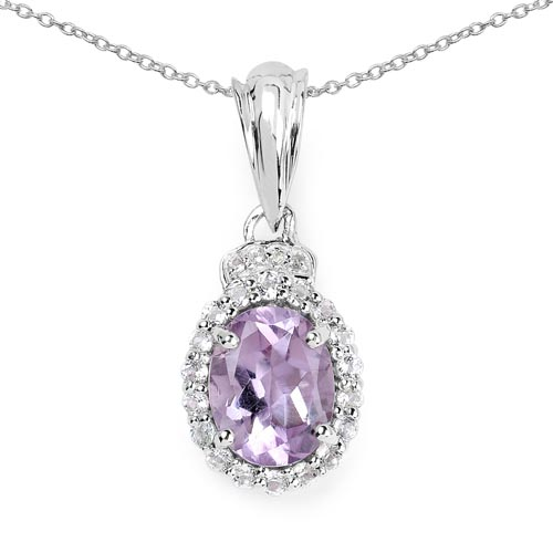 Amethyst:Oval/9x7mm 1/1.80 ctw + Topaz White:Round/1.50mm 18/0.40 ctw + Topaz White:Round/1.00mm 4/0.02 ctw #29740v3