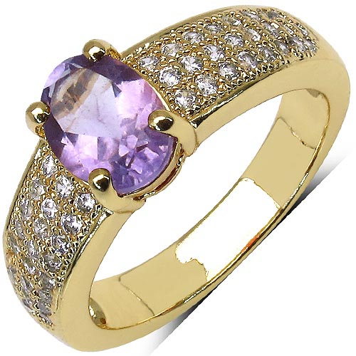 Amethyst:Oval/8x6mm 1/1.00 ctw + Cubic Zircon White:Round/1.00mm 48/0.45 ctw #29613v3