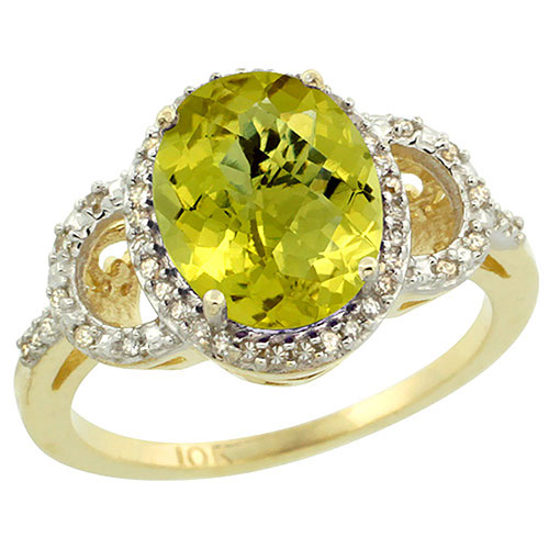 10K Yellow Gold Diamond Halo Natural Lemon Quartz Ring Oval 10X8 mm, sizes 5-10 #16308v3