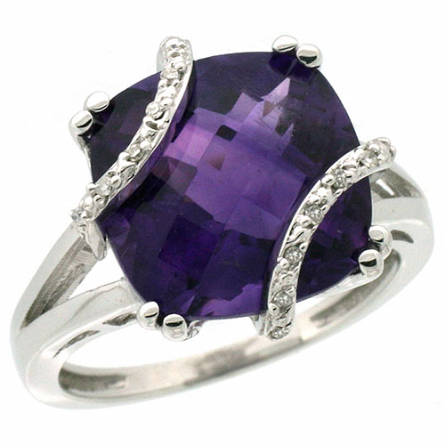 10k White Gold Natural Amethyst Ring Cushion-cut 12x12mm Diamond Accent, sizes 5-10 #15571v3