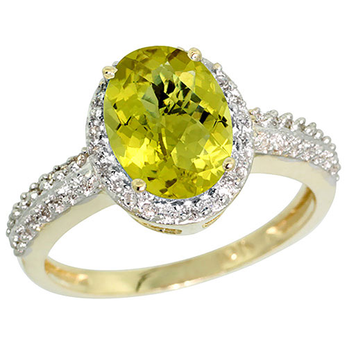 10K Yellow Gold Diamond Natural Lemon Quartz Ring Oval 9x7mm, sizes 5-10 #16312v3