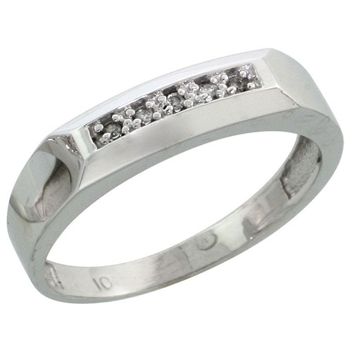 10k White Gold Ladies Diamond Wedding Band Ring 0.03 cttw Brilliant Cut, 3/16 inch 4.5mm wide #16278v3