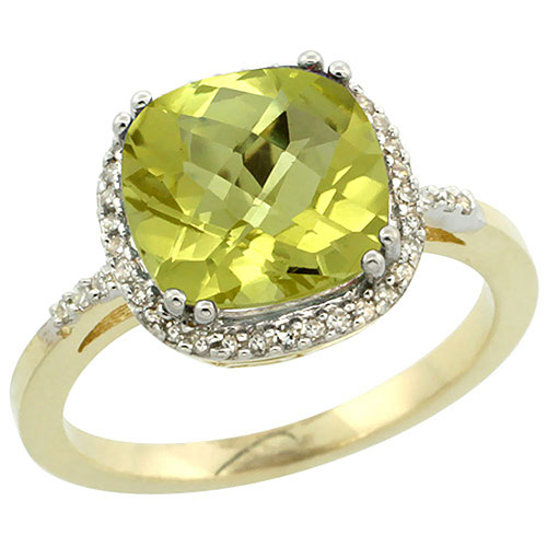 10K Yellow Gold Diamond Natural Lemon Quartz Ring Cushion-cut 9x9mm, sizes 5-10 #16309v3