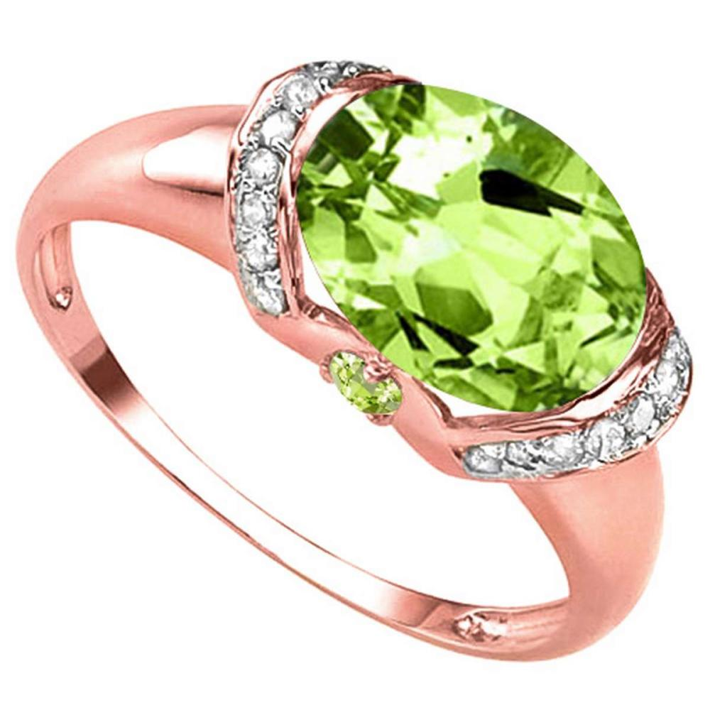3.16 CT PERIDOT 0.1 CT WHITE TOPAZ AND ACCENT DIAMOND 0.09 CT 10KT SOLID RED GOLD RING #IRS93958