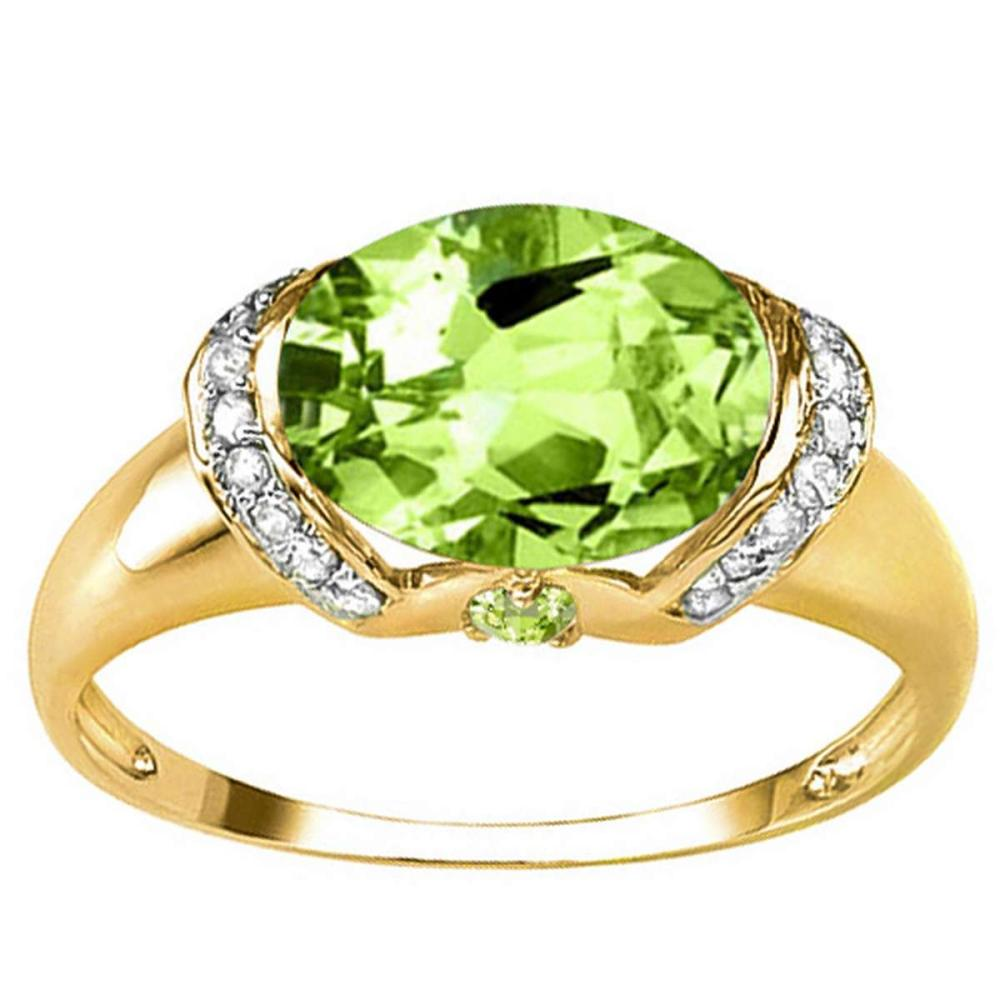 3.16 CT PERIDOT 0.1 CT WHITE TOPAZ AND ACCENT DIAMOND 0.09 CT 10KT SOLID YELLOW GOLD RING #IRS93947