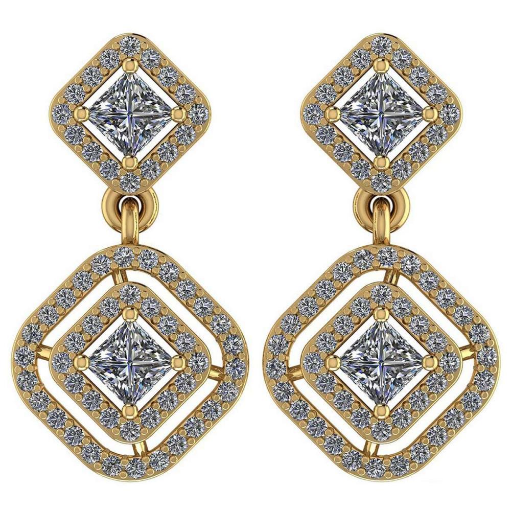 Certified 1.30 Ctw Diamond VS/SI1 18K Yellow Gold Hanging Stud Earrings #IRS26427