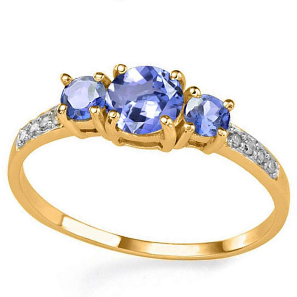 0.73 CT TANZANITE AND ACCENT DIAMOND 0.04 CT 10KT SOLID YELLOW GOLD RING #IRS94042