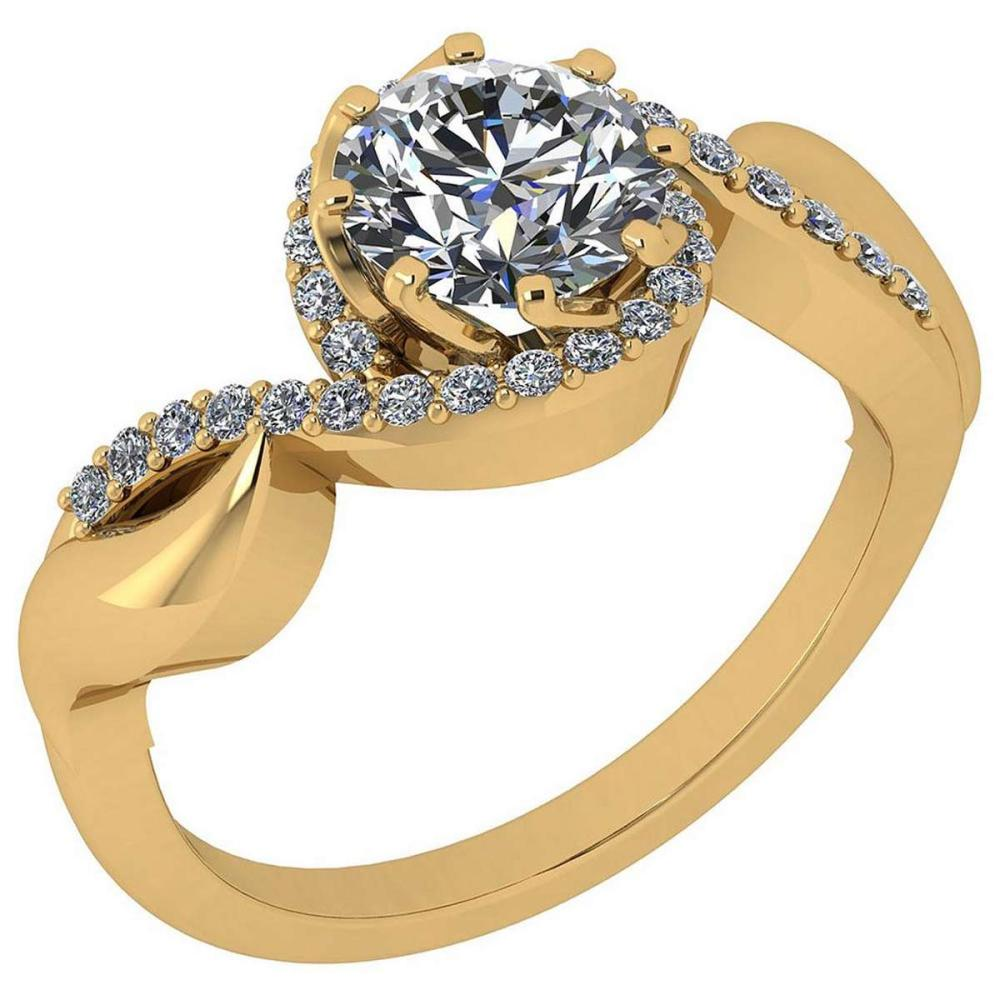 Certified 1.49 Ctw Diamond VS/SI1 14K Yellow Gold Halo Ring #IRS26576