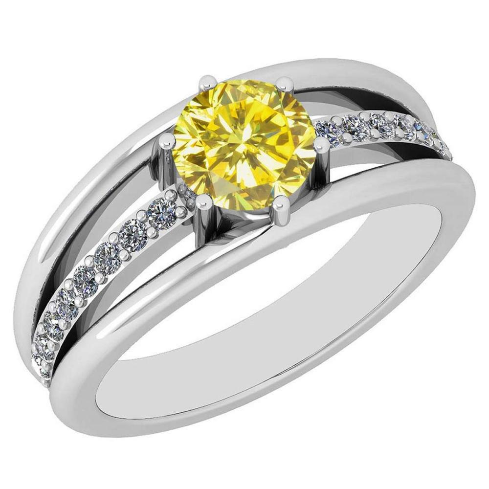 Certified 1.03 CtwTreated Fancy Yellow Diamond And White Diamond 18K White Gold Ring #IRS24757