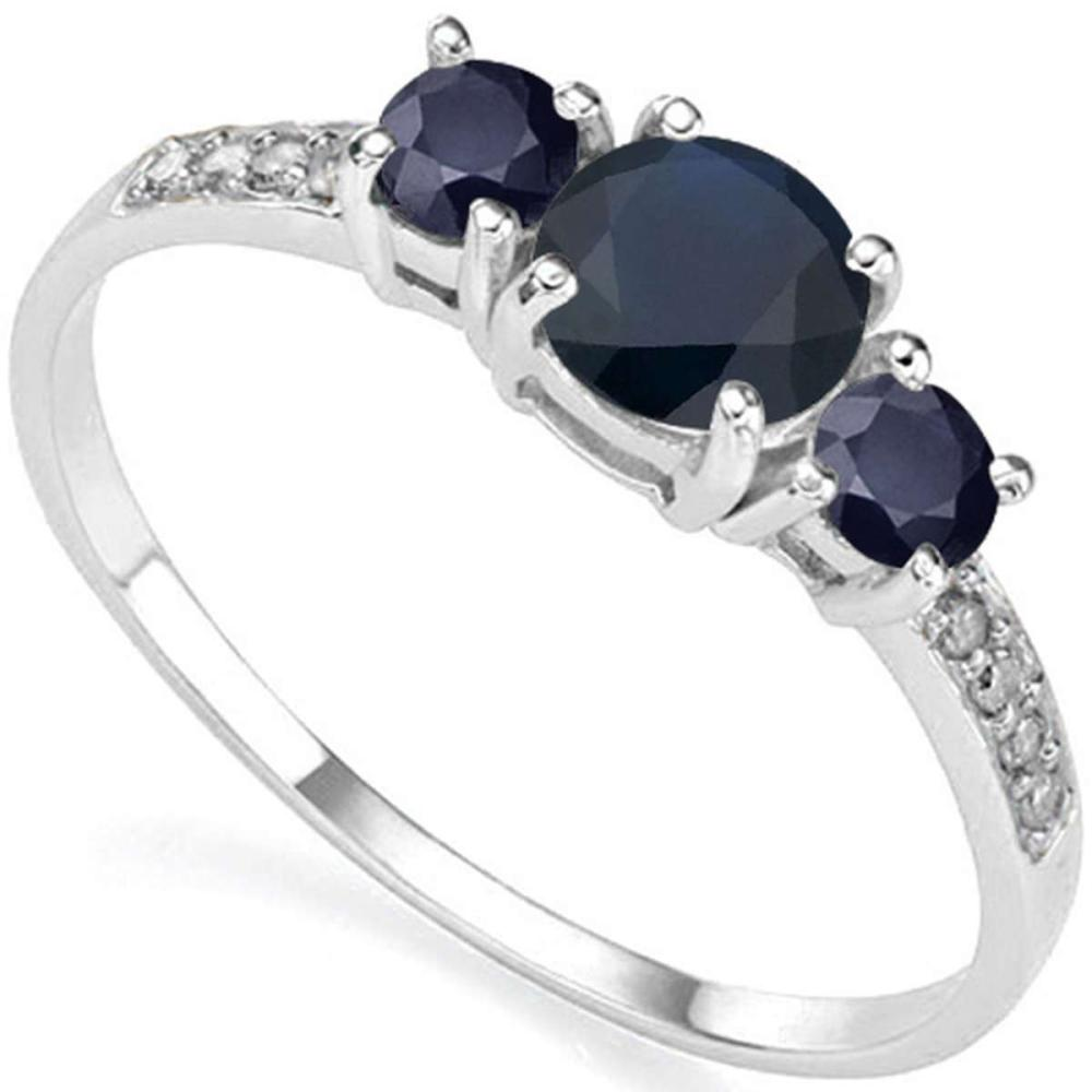 0.98 CT BLACK SAPPHIRE AND ACCENT DIAMOND 0.04 CT 10KT SOLID WHITE GOLD RING #IRS94028
