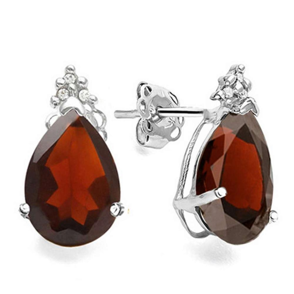 1.05 CT GARNET AND ACCENT DIAMOND 10KT SOLID WHITE GOLD EARRING #IRS94138