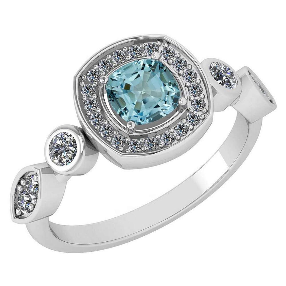 Certified 1.10 Ctw Aquamarine And Diamond VS/SI1 14K White Gold Ring #IRS25212