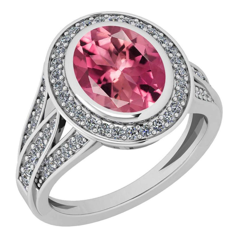 Certified 3.05 Ctw Pink Tourmaline And Diamond VS/SI1 14K White Gold Ring #IRS27909